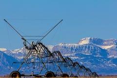Bevattningaktivering längs Rocky Mountain Front Arkivfoton