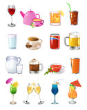 Beve le icone Immagine Stock