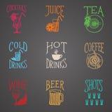 Beve le icone del menu - stile del latino Fotografie Stock