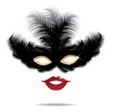 Bevederd masker en sexy rode lippeneps 10 vector Royalty-vrije Stock Foto's