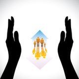 Grafisch van de Veilige pictogrammen van familiemensen, hand silhoue Stock Foto