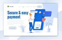 Beveilig en het gemakkelijke ontwerp van het betalingslandingspagina Het moderne online ontwerp van het betalingslandingspagina - stock illustratie