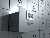 Beveilig het bureaukabinet van het Gegevensbestand Stock Foto's