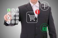 Beveilig het online winkelen Stock Foto
