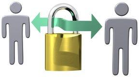 Beveilig het slotmensen van de communicatiegegevensveiligheid vector illustratie