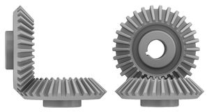 Bevel gears in engagement. Three-dimensional illustration of the bevel gears in engagement on a white background. Isolated Stock Photos