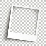 Bevel Instant Photo Frame Transparent Shadows. Instant photo frame with transparent shadows on the checked background Royalty Free Stock Images