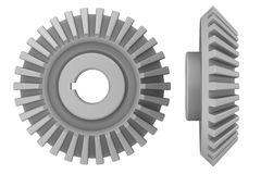 Bevel pinion. Three-dimensional illustration of the bevel pinion on a white background. isolated Royalty Free Stock Photos