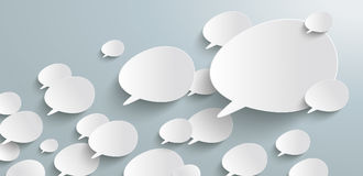 Bevel Speech Bubbles Growth Header Infographic. Header with bevel speech bubbles on the gray background Stock Images