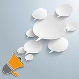 Bevel Speech Bubbles Megaphone. Infographic with bevel speech bubbles and magaphone on the gray background Stock Images