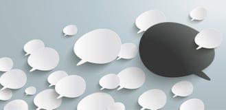 Bevel Speech Bubbles Refutation Header Infographic. Header with bevel speech bubbles on the gray background Stock Images