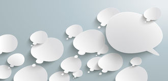 Bevel Thought Bubbles Refutation Header Infographic. Header with bevel speech and thought bubbles on the gray background Stock Photo