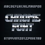 Beveled chrome alphabet font. Metal color italic shiny letters and numbers. vector illustration