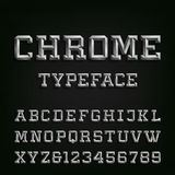 Beveled Chrome Alphabet Vector Font. Stock Photo