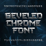 Beveled metal alphabet font. Chrome effect letters and numbers on abstract polygonal background. Stock vector typeface for your design Royalty Free Stock Photography