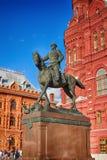 Bevelhebber, Hofmaarschalk Georgy Zhukov De held van de Tweede Wereldoorlog Het monument in het centrum van Moskou Stock Afbeelding