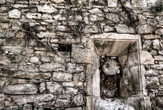 Bevelled stone window. With ivy roots stock photos