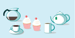 Beveradge with cupcake. Hot coffee ang tea with sweet cupcakes Royalty Free Stock Photography
