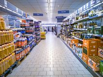 Beverage aisle in a supermarket royalty free stock photo