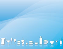 Beverage background. Background illustration of various beverage containers: cups, mugs and bottles Stock Photos