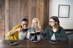 Beverage Break Cafe Coffee Cheerful Femininity Concept. People Having Beverage Break Cafe Coffee Cheerful Femininity Stock Image