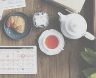 Beverage Breaktime Cafe Brunch Tea Croissant Concept Stock Image