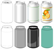 Beverage can in different styles. Illustration of beverage can in different styles Royalty Free Stock Image