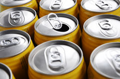 Beverage cans. Yellow aluminum cans of soda Royalty Free Stock Photo