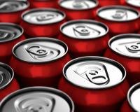 Beverage cans closeup Royalty Free Stock Photos