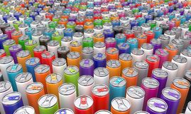 Beverage cans multi coloured. 3D rendering: beverage cans are multi coloured vector illustration