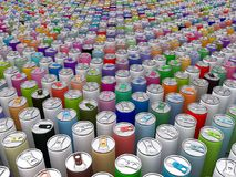 Beverage cans multi coloured. 3D rendering: beverage cans are multi coloured royalty free illustration