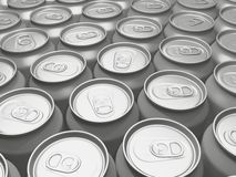 Beverage cans in a row. Many bare beverage cans in a row Stock Photos