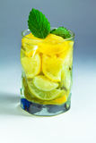 Beverage of citrus with mineral wate Royalty Free Stock Images