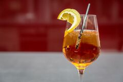 Beverage in Clear Wine Glass Stock Photography