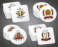 Beverage coaster with beer labels vector set Stock Photography