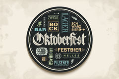 Beverage coaster with lettering for Oktoberfest Beer Festival Stock Photography