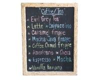 Beverage coffee menu on the blackboard Royalty Free Stock Photography