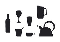 Beverage container silhouettes Stock Photo