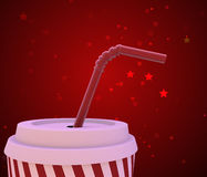 Beverage cup on red background Royalty Free Stock Photos
