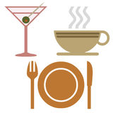 Beverage and dinnerware. Martini coffee and dinnerware icons on white background Stock Photo