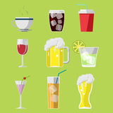 Beverage Drink Icons Symbols Set Vector Royalty Free Stock Photos