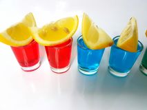 Beverage drink lemons shots alcohol bar Royalty Free Stock Photos