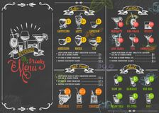 Restaurant menu beverage drink poster chalkboard calligraphic lettering old retro vintage style vector illustration. royalty free stock photo