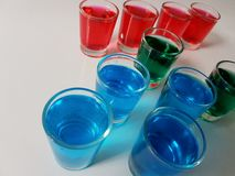 Beverage drink red blue green shots party Stock Photography