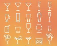 Beverage, drinks vector thin line symbol icon Royalty Free Stock Photos