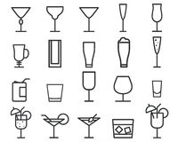 Beverage, drinks vector thin line symbol icon Royalty Free Stock Images