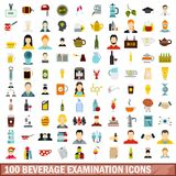 100 beverage examination icons set, flat style. 100 beverage examination icons set in flat style for any design vector illustration royalty free illustration