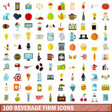 100 beverage firm icons set, flat style Stock Photos