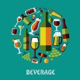 Beverage flat design poster Stock Photo