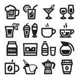 Beverage flat icons. Black Royalty Free Stock Photo
